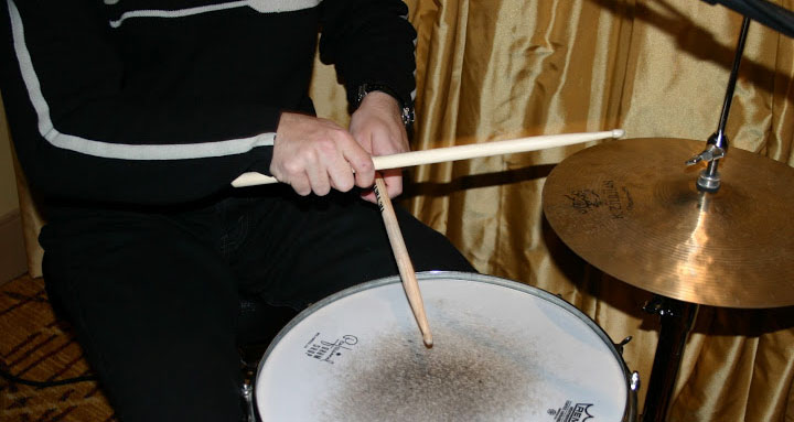 Photo of Ian playing drums with The Cheeeseballs