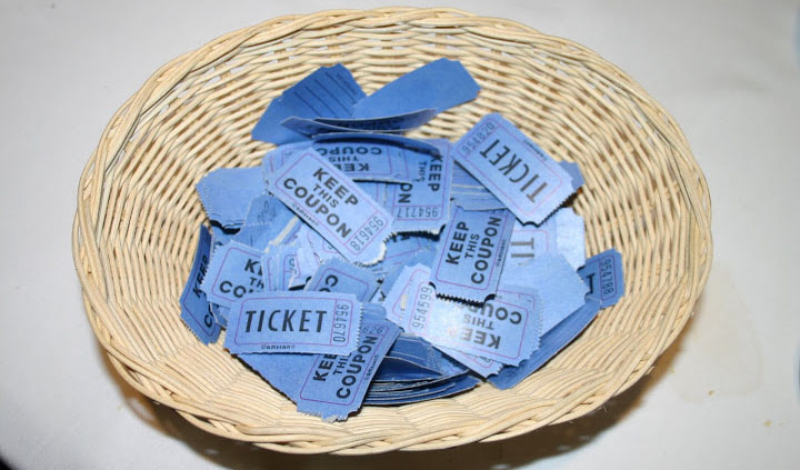 Photo of basket of tickets purchased with a donation